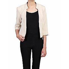 Jolie Moi - Cream 3/4 sleeves open front blazer