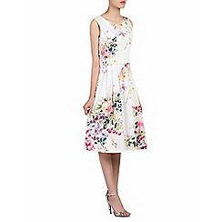 Jolie Moi - White floral print pleated 50s dress