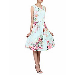 Jolie Moi - Green floral print 50s pleated dress