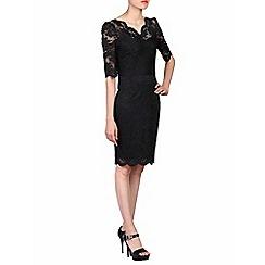 Jolie Moi - Black scalloped v neck lace bodycon dress