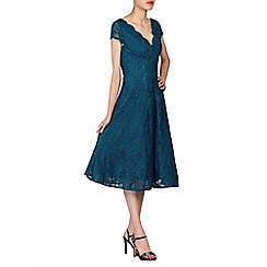 Jolie Moi - Blue cap sleeves fit & flare lace dress