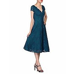 Jolie Moi - Blue cap sleeves fit & flare lace dress