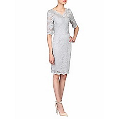 Jolie Moi - Grey scalloped v-neck lace bodycon dress