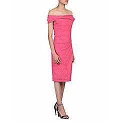 Jolie Moi - Pink lace bonded bardot neck dress