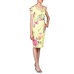 Jolie Moi - Yellow floral print cold shoulder dress