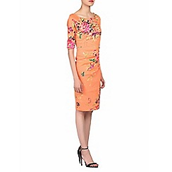 Jolie Moi - Orange floral print 1/2 sleeves dress