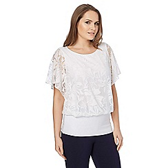 Roman Originals - Off white burnout frill sleeves top