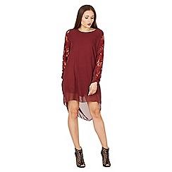 Feverfish - Plum chiffon lace sleeves panel tunic dress