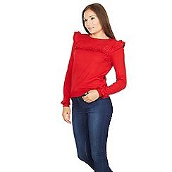 Izabel London - Red shoulder frill trim knit jumper