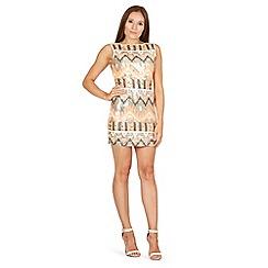 Izabel London - Orange sequin aztec open back dress