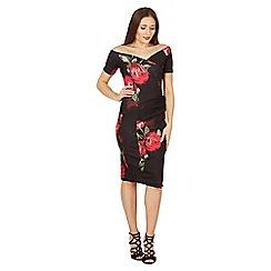 Feverfish - Black off shoulder rose print dress