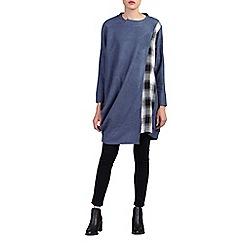 Jolie Moi - Blue asymmetric oversized check insert jumper