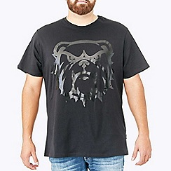 MVP Collections - Big and tall black tonal camo screen print graphic t-shirt