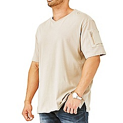 MVP Collections - Big and tall beige zipper sleeve t-shirt
