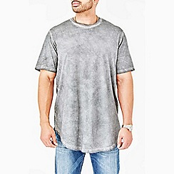 MVP Collections - Big and tall grey curved hem t-shirt