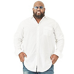MVP Collections - Big and tall white chambray long sleeve buttoned shirt