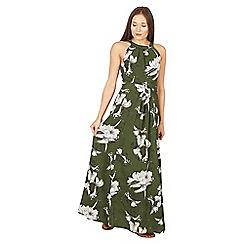 Jolie Moi - Dark green floral print halter neck maxi dress