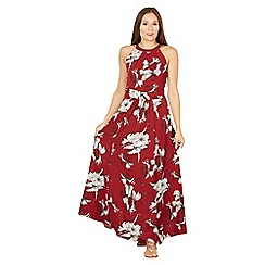 Jolie Moi - Maroon floral print halter neck maxi dress