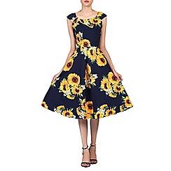 Jolie Moi - Navy floral print scoop neck tea dress
