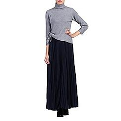 Jolie Moi - Navy pleated crepe maxi skirt