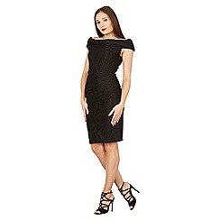 Jolie Moi - Black lace bonded bardot shift dress