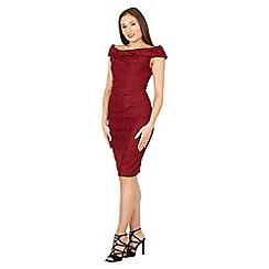 Jolie Moi - Maroon lace bonded bardot shift dress