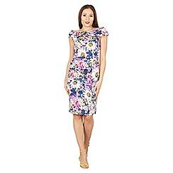 Jolie Moi - Purple retro floral print bardot dress