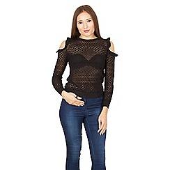 Izabel London - Black cold shoulder detail knitted top