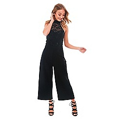 Be Jealous - Black high neck sequin lace culotte jumpsuit