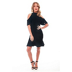 Be Jealous - Black high neck fishtail dress