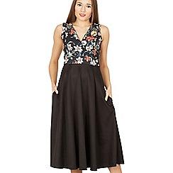 Feverfish - Black long contrast print flared dress