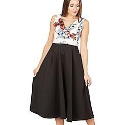 Feverfish - Cream long contrast print flared dress