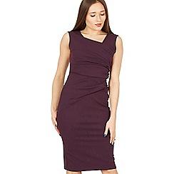 Feverfish - Purple side pleat asymmetric dress