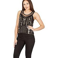 Izabel London - Black embellished mesh top