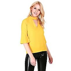 Be Jealous - Mustard frill sleeves choker neck top