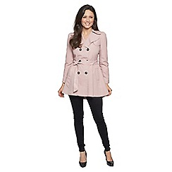 David Barry - Pink ruched slim fit trench coat