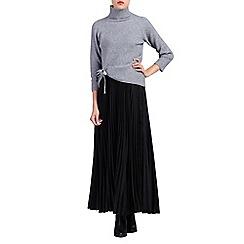 Jolie Moi - Black pleated crepe maxi skirt