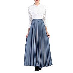Jolie Moi - Dark grey pleated crepe maxi skirt
