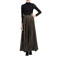 Jolie Moi - Green pleated crepe maxi skirt