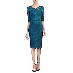 Jolie Moi - Dark blue scalloped v neck lace bodycon dress