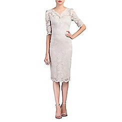 Jolie Moi - Taupe scalloped v neck lace bodycon dress