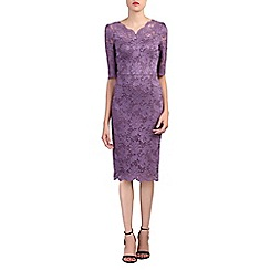 Jolie Moi - Dark mauve scalloped v neck lace bodycon dress