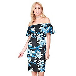 Be Jealous - Black bardot bodycon floral dress