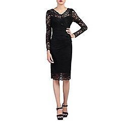 Jolie Moi - Black long sleeves v neck lace dress