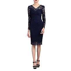 Jolie Moi - Navy long sleeves v neck lace dress