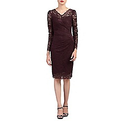 Jolie Moi - Maroon long sleeves v neck lace dress