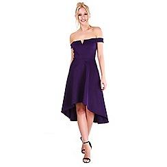 Be Jealous - Purple v neck off shoulder high low dress