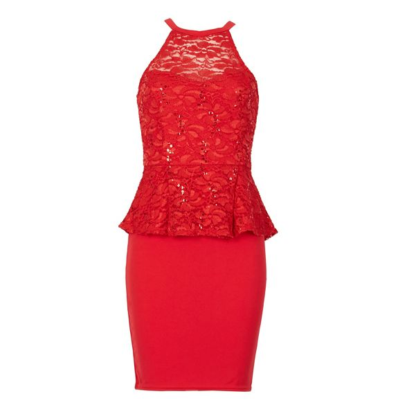 peplum Be dress high Jealous Red neck gqSwSBYz