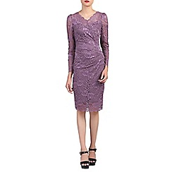 Jolie Moi - Lilac long sleeves v neck lace dress