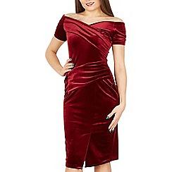 Feverfish - Dark red velour off shoulder dress